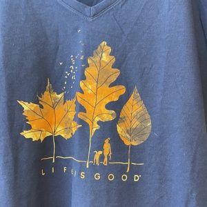 Life is Good Navy Blue V-Neck Crusher Tee T-Shirt